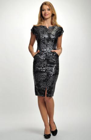 Dámské černé koktejlové šaty do společenosti z efektního moderního materiálu. vel. 38, 40, 42