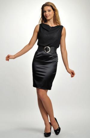 Extravagantní černo-stříbrné krátké společenské šaty nad kolena s krajkou a šifónovou vodou. Velikosti 38 a 40.