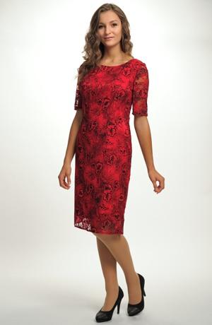 Elegantní pouzdrové společenské šaty s efektní krajkou vel. 40