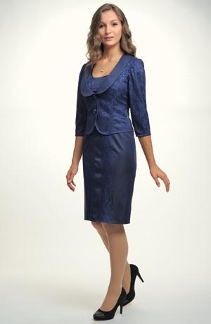 Elegantní dámské koktejlpvé šaty kombinivané s krajkou
