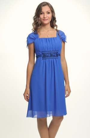Dívčí šaty s řasením na předním dílu i pro silnější dívky vel. 44, 46, 50, 52 - XL a XXL