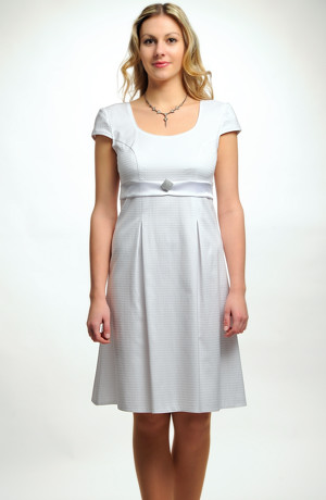 Krátké empírové svatební šaty s rukávky vhodné pro těhotné