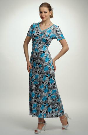 Modrobílé dámské dlouhé letní šaty