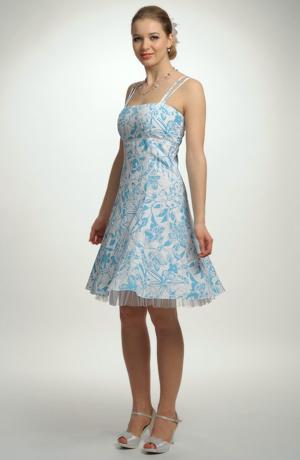 Jemné krátké společenské šaty na ramínka s tylovou spodničkou, vel. 42