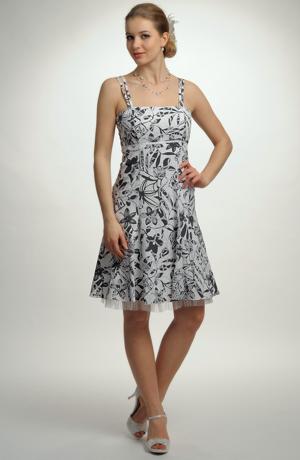 Šaty v duchu 50.let z krešované, leptané bavlny s potiskem