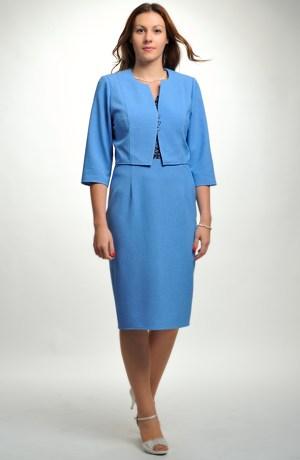 Kostýmek - šaty s módní krajkou a s krátkým kabátkem, vel. 40, 42