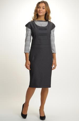 Dámský business kostým, kombinace šatové sukně se sakem