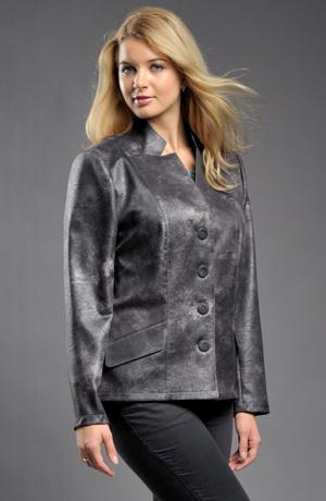 Společenské módní sako s koženým efektem