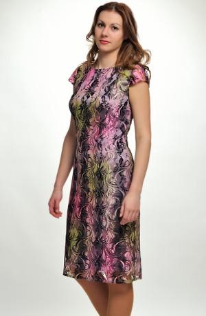 Luxusní koktejlové společenské šaty, krajkové koktejlky z elastické krajky ve vínově-fialové barvě, vel. 42, 44,46, 48