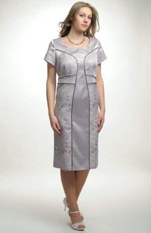 Pouzdrové šaty kombinované ze dvou materiálů