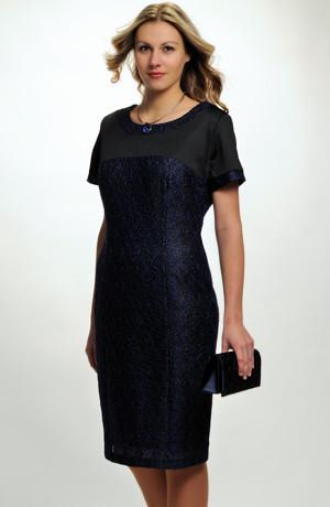 Pouzdrové společenské šaty z elastické modré krajky, vel.42 až 50 pro plnoštíhlé, stríh: pouzdrové šaty