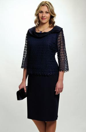 Koktejlové šaty pro plnoštíhlé s krajkou na sedle a s rukávky, až do vel. 52 / XXL.