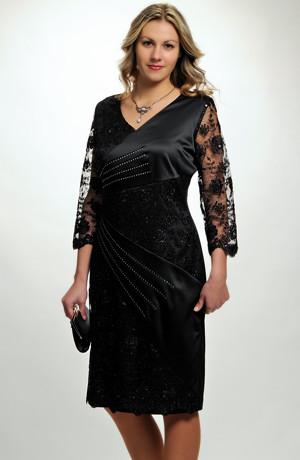 Dámské večerní a koktejlové šaty s černou luxusní krajkou a saténem vhodné i pro plnoštíhlé a větší velikosti, 42 - 48 / XL, XXL