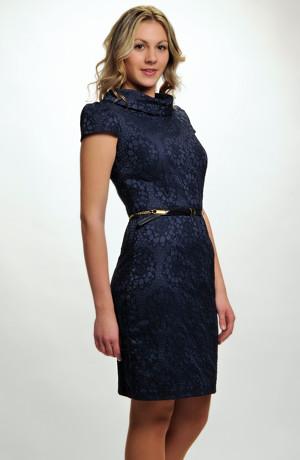 Jednoduché elegantní šaty s krajkovým plastickým vzorem, vel. 36, 38, 40