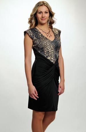 Módní elastické šaty v kombinaci zvířecího vzoru a černé, vel. 36, 38, 40, 42