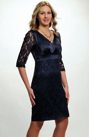 Elegantní pouzdrové společenské šaty s efektní krajkou na sukni a rukávech, vel. 36, 38, 40, 42
