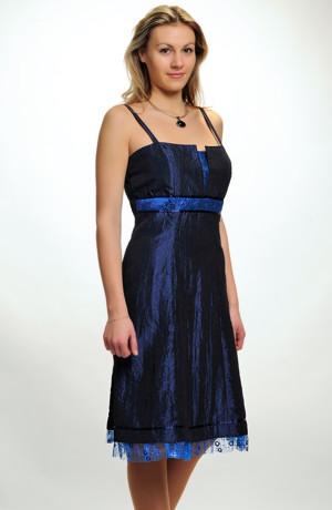 Mladistvé společenské šaty na raminka prádlového typu s krajkovou portou, Vel. 42.