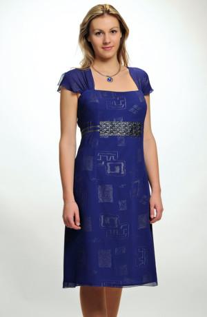 Šifonové šaty se stříbrným potiskem zdobené krajkou ve velikosti 50 / XL, XXL