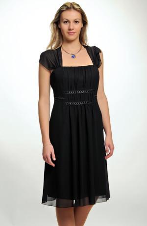 Nadčasové černé společenské šaty vhodné i pro silnější postavy xl, xxl, xxxl