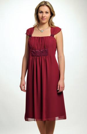 společenské šaty pro plnoštíhlé s řasením pod prsy ve velikosti 48, 50 / XL až XXL