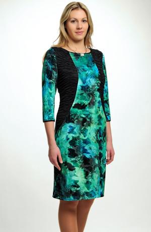 Luxusní společenské šaty z elastického sametu s luxusním potiskem, vel. 38, 40, 42, 44, 46