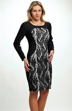 Krátké černé šaty se zvýrazněným předním dílem s krajkou a s rukávky. Vel. 38, 40, 42