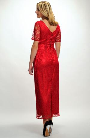 Luxusní dlouhé společenské šaty 2014 z krajky v jasné červené barvě. Vel. 36, 38, 40, 42, 44