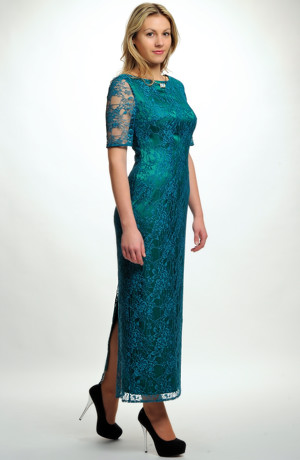 Zelené společenské luxusní šaty z jemné pavoučkové krajky