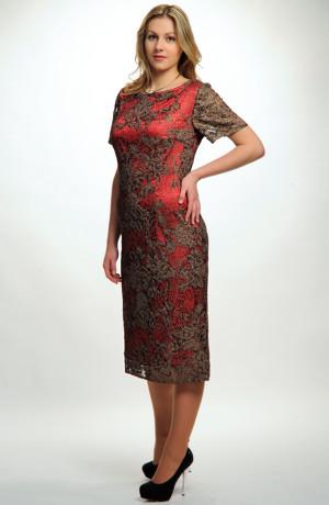 Dámaské elegantní červené společenské šaty pokryté luxusní krajkou, vel. 46