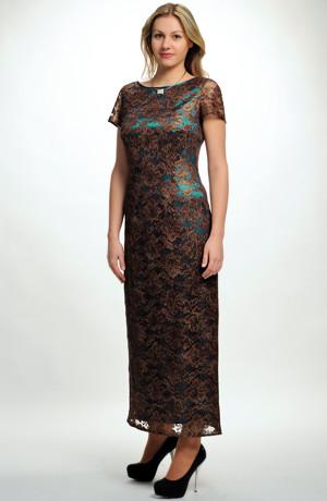 Elegantní dámské šaty na ples s krajkou se zlatou metalízou, vel. 44