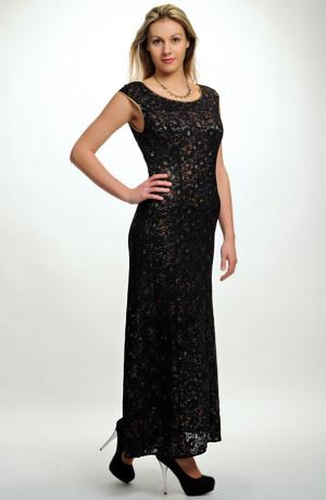 Dámské dlouhé plesové šaty s tiskem kvítků na černé krajce i pro mírně plnější postavy. Vel. 38, 40, 42, 44