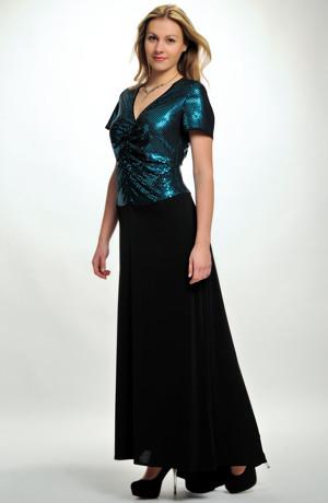 Elegantní dlouhé šaty s řaseným živůtkem z elastické lesklé pleteniny, vel 42, 44, 46, 48.