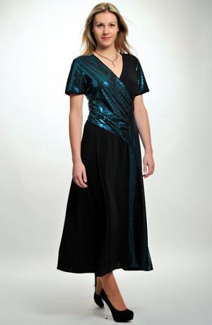 Dlouhé večerní společenské šaty XL, XXL, XXXL s kombinací dvou materiálů