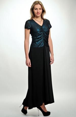 Dlouhé večerní šaty XXL s řaseným sedlem z petrolejové elastické látky, vel. 42, 44, 46, 48