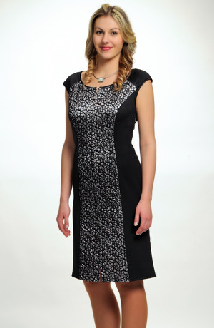Dámské společenské koktejlové šaty ze zajímavého materiálu, až do velikosti 46 / XXL.