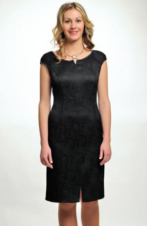 Dámské černé elegantní společenské šaty koktejlky v úzké tubové siluetě. 36, 38, 40, 42, 44