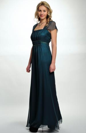 Dlouhé elegantní večerní šaty s lesklou zelenou portou i pro plnoštíhlé silnější dámy, vel. 44, 46, 48