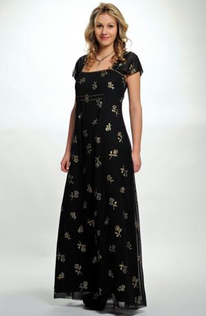 Dlouhé dámské večerní šifonové šaty se vzorem zlatých kytiček, pouze vel. 46
