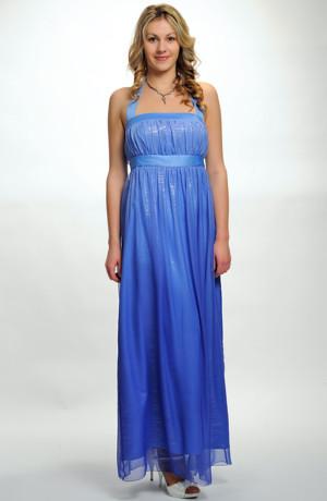 Luxusní modré společenské šaty s ramínky za krk v jemné pomněnkové barvě, vel. 42