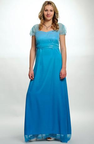 Dlouhé tyrkysové společenské šaty se stříbrnou metalízou a řasenou portou, vel. 42