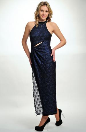 Elegantní společenské a večerní krajkové šaty s rozparkem z elastické krajky v modro-černé kombinaci, vel. 36, 38, 40, 42