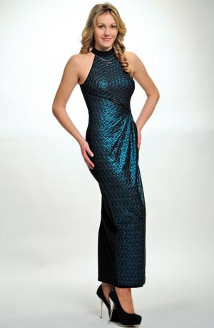 Večerní společenské šaty s americkými průramky a průstřihem. Vel. 34, 36, 38, 40 / XS, S, M, L