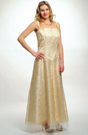Dlouhé šaty pro boubelky z vyšívané organzy ve vanilkové barvě ve vel. 46.