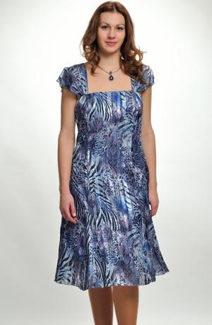 Šifonové krátké šaty na široká ramínka