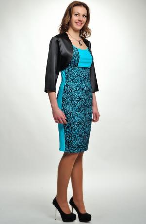 Dámské černé koktejlové šaty do společnosti z efektního moderního materiálu. vel. 38, 40, 42, 44