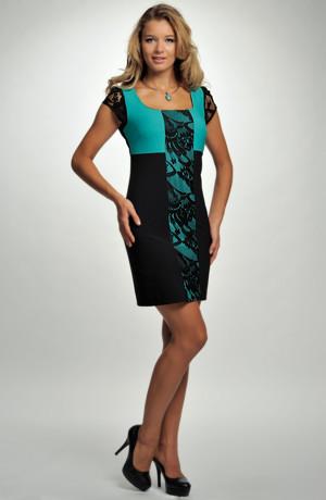 Dívčí společenské šaty s krajkou do sedýlka s krajkovými rukávky , a vsadkou na předním dílu, vel. 38, 40
