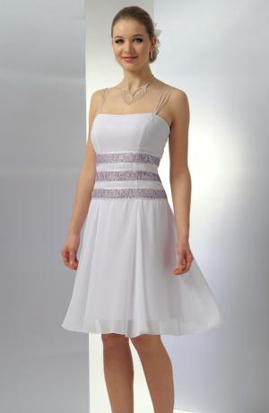 Krátké bílofialkové společenské nebo svatební šaty vhodné pro vel. 38, 40, 42.