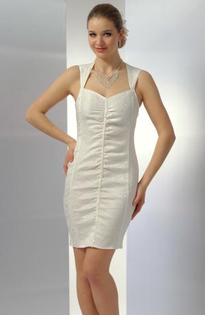 Krátké elastické bílé nebo smetanové svatební šaty
