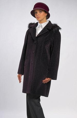 Elegantní dámské paleto s oddělávací kapucí a kožešinou.