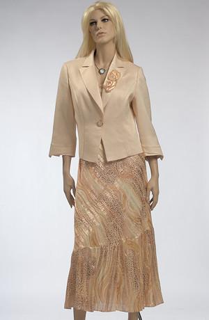 Velmi elegantní sváteční šatový komplet se zlatavým nádechem.